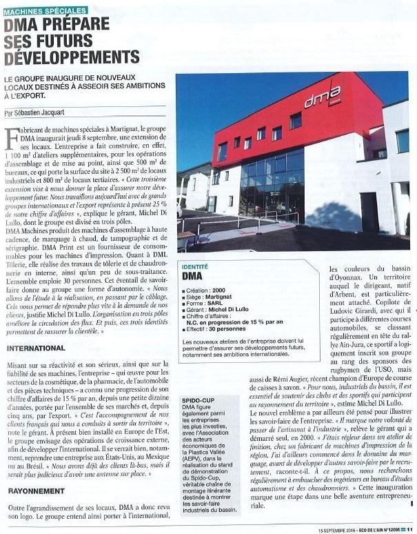 Press article ECO DE L'AIN