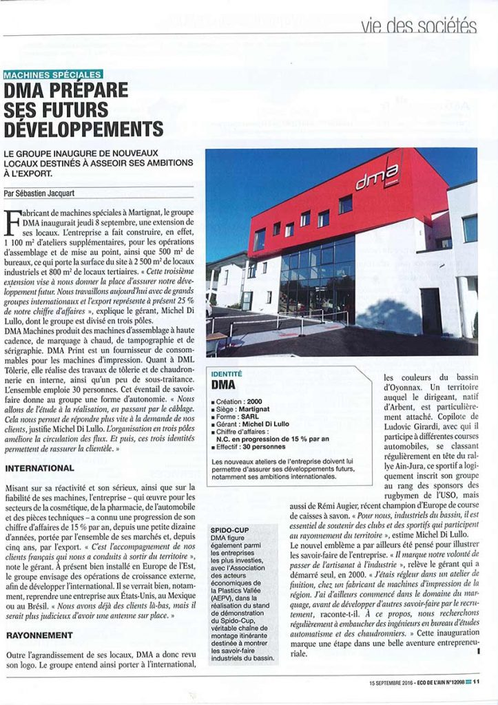 DMA PREPARES ITS FUTURE DEVELOPMENTS - eco de l'ain