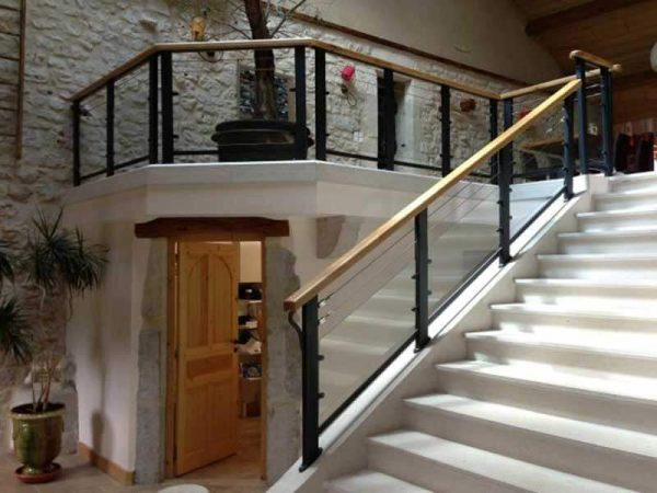 Stair railing made by the sheet metal division of DMA, manufacturer of special machines
